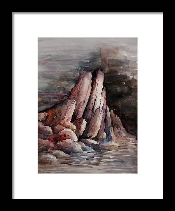 Landscape Framed Print featuring the painting Eruption by Rachel Christine Nowicki