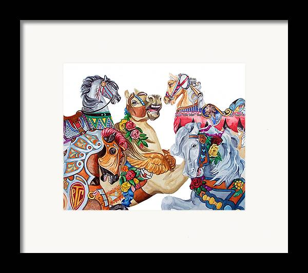 Carousel Horses Framed Print featuring the print Escapade by Bette Gray