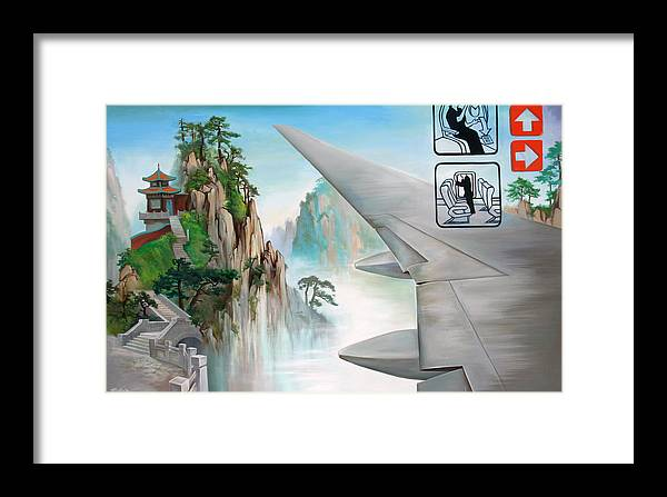 Mountain Framed Print featuring the painting Escape by Dave Datsuzoku
