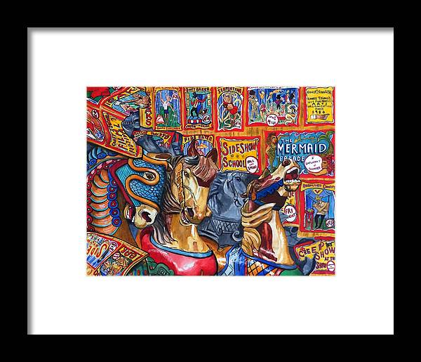 Horses Framed Print featuring the print Escape From Coney Island by Bette Gray