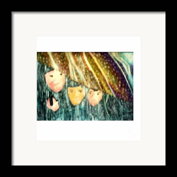 Portrait Framed Print featuring the painting Escape From The Rain by Brenda L Spencer