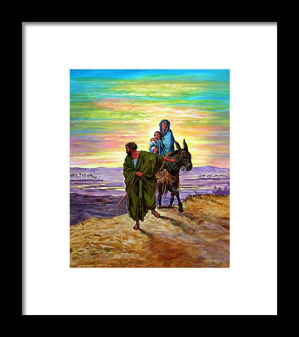 Jesus Framed Print featuring the painting Escape into Egypt by John Lautermilch