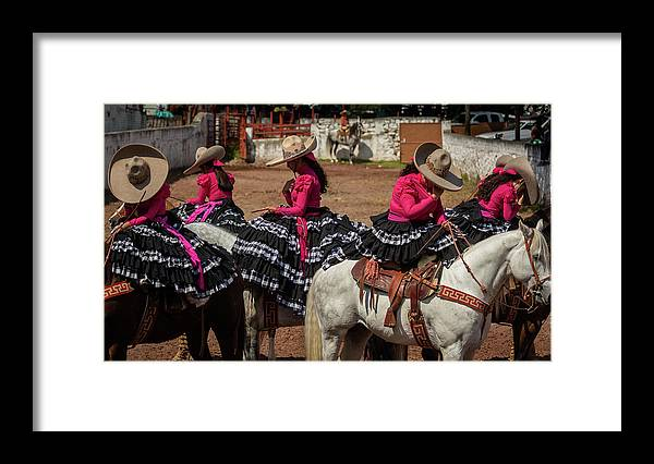 Framed Print featuring the photograph Escaramuza Cowgirls Crossing Themselves by Dane Strom
