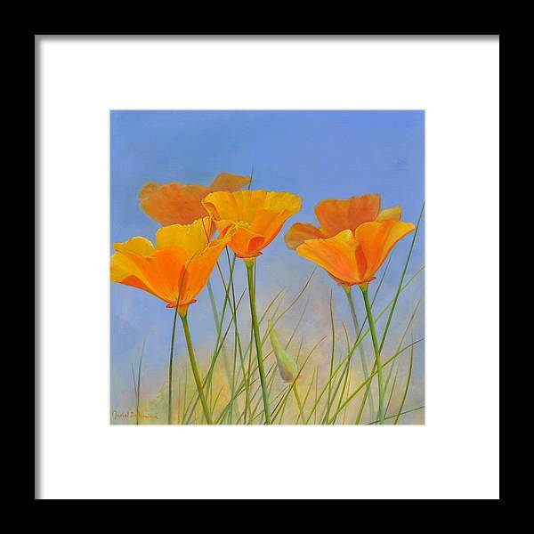 Floral Painting Framed Print featuring the painting Escholtzia de Crafton by Muriel Dolemieux