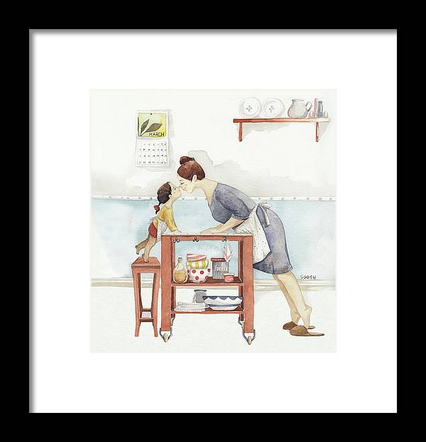Framed Print featuring the drawing Eskimo kiss by Soosh