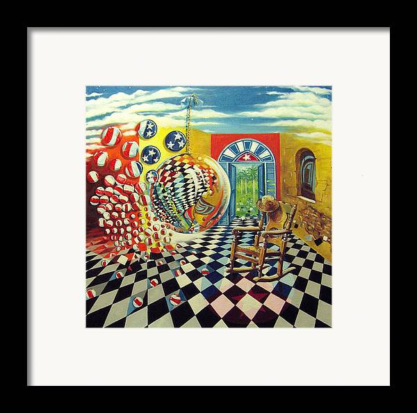 Spheres Framed Print featuring the painting Esperando Ansiosamente La Salida by Roger Calle