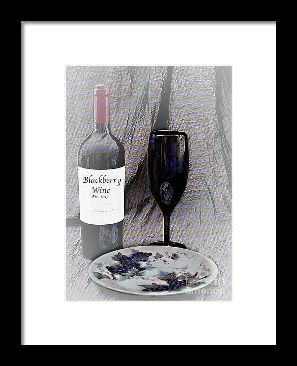 Still Life Framed Print featuring the photograph Est 2017 Blackberry Wine by Sherry Hallemeier