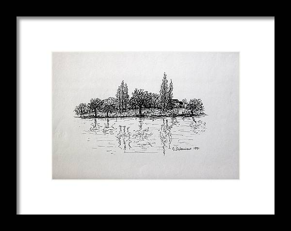 Landscape Framed Print featuring the drawing Etang by Muriel Dolemieux