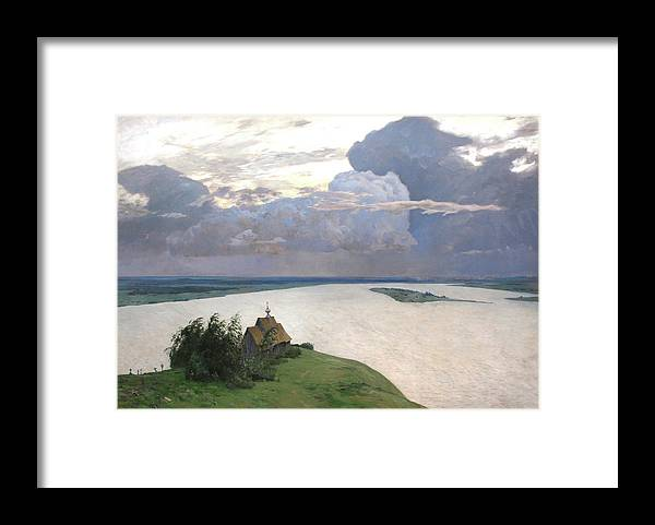 Isaac Levitan Framed Print featuring the painting Eternal Peace by Isaac Levitan