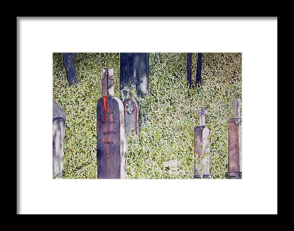 Cemeteries Framed Print featuring the painting Eternity In Hoonah by Larry Wright