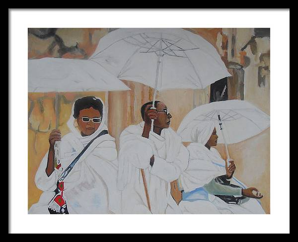 African Art Framed Print featuring the painting Ethiopian Travelers by Patrick Hunt
