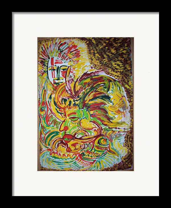Ethnic Framed Print featuring the painting Ethnic by Helene Champaloux-Saraswati