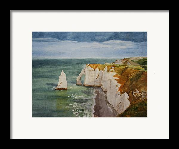 Seascape Framed Print featuring the painting Etretat by Monika Degan