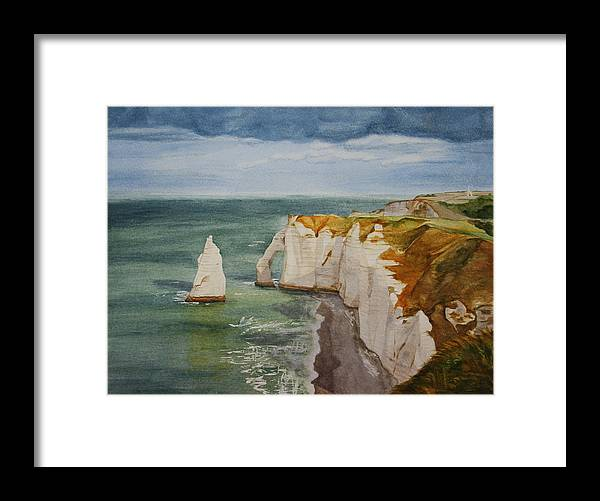Seascape Framed Print featuring the painting Etretat by Monika Degan