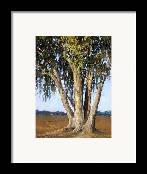 Landscape Framed Print featuring the painting Eucs At Moss Landing by Maralyn Miller