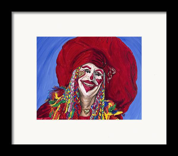 Glitter Framed Print featuring the painting Eureka Springs Clown by Patty Vicknair
