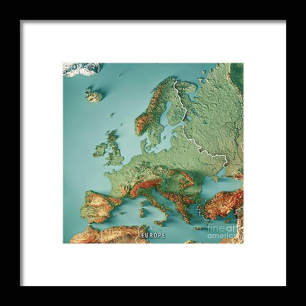 Europe 3d Render Topographic Map Color Border Framed Print By Frank