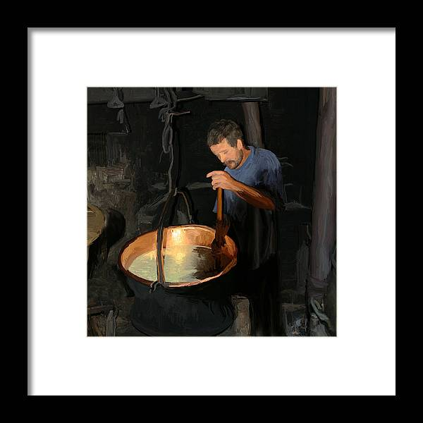 European Framed Print featuring the painting European Cheese Maker by Carol Peck