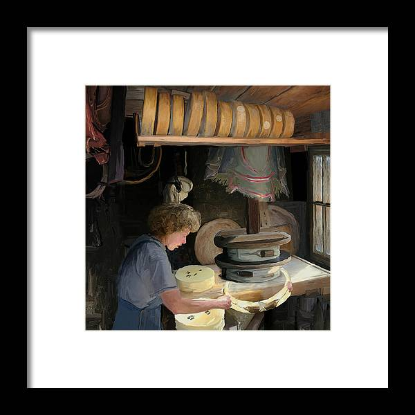 Old Framed Print featuring the painting European Cheesemaker by Carol Peck