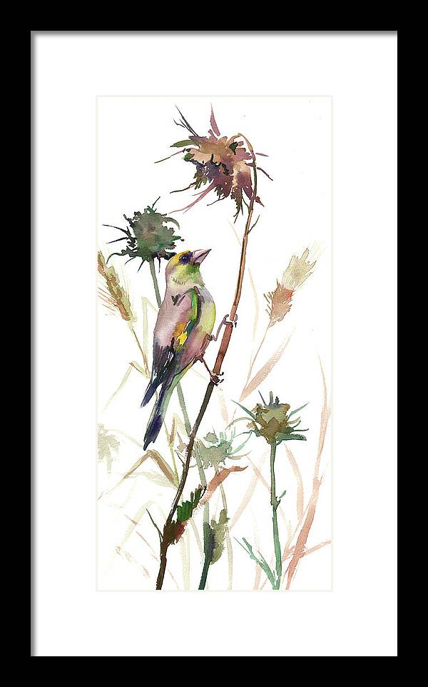 Goldfinch Framed Print featuring the painting European Goldfinch In The Field by Suren Nersisyan