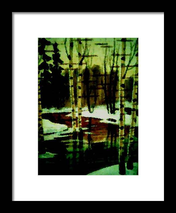 Sprig.forest.snow.water.trees.birches. Puddles.sky.reflection. Framed Print featuring the digital art European Spring by Dr Loifer Vladimir