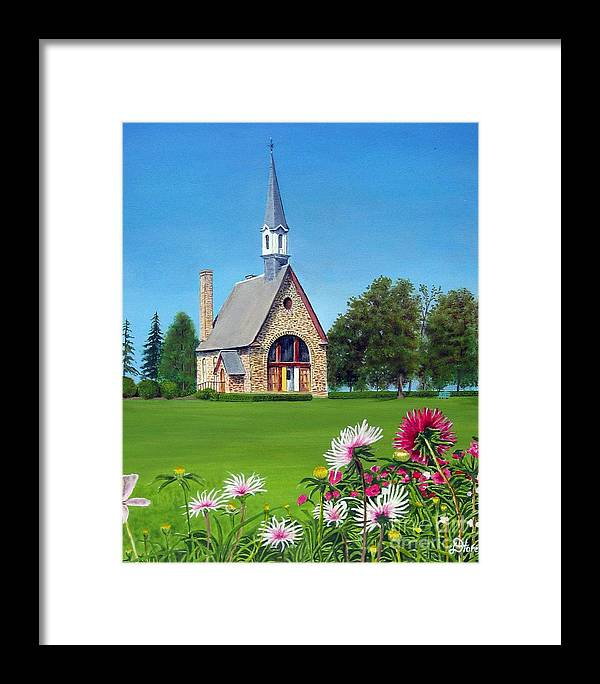 Nova Scotia Framed Print featuring the painting Evangeline Museum by Donald Hofer