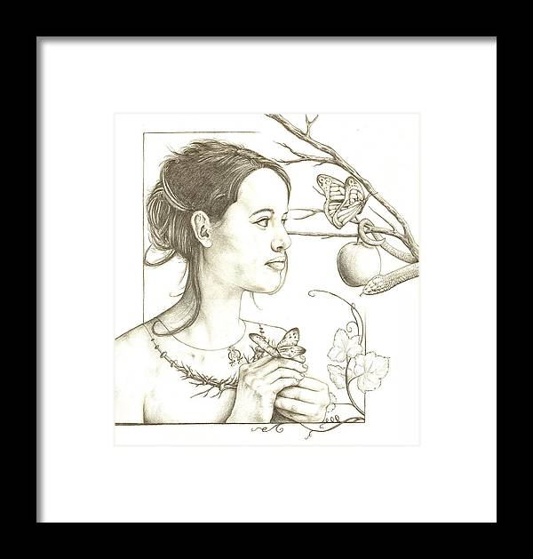 Christian Framed Print featuring the drawing Eve by Daniel Robert
