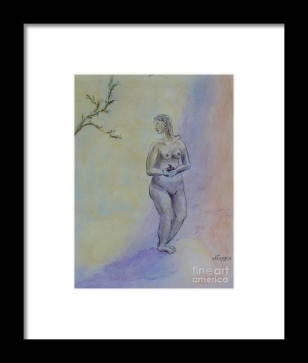 Woman Framed Print featuring the pastel Eve by Ushangi Kumelashvili