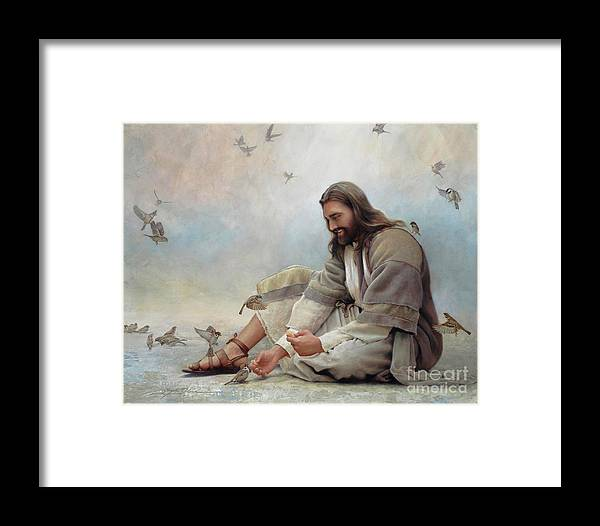 Jesus Framed Print featuring the painting Even A Sparrow by Greg Olsen