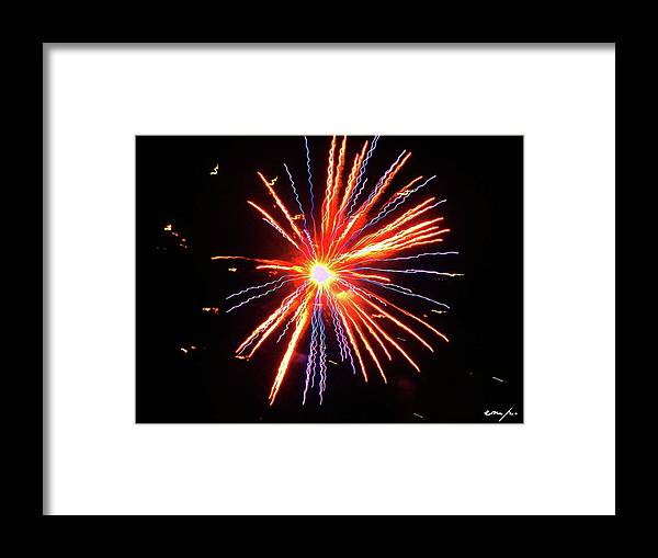 Firework Framed Print featuring the photograph Even Brighter Than The Moon by Erin Murtaugh