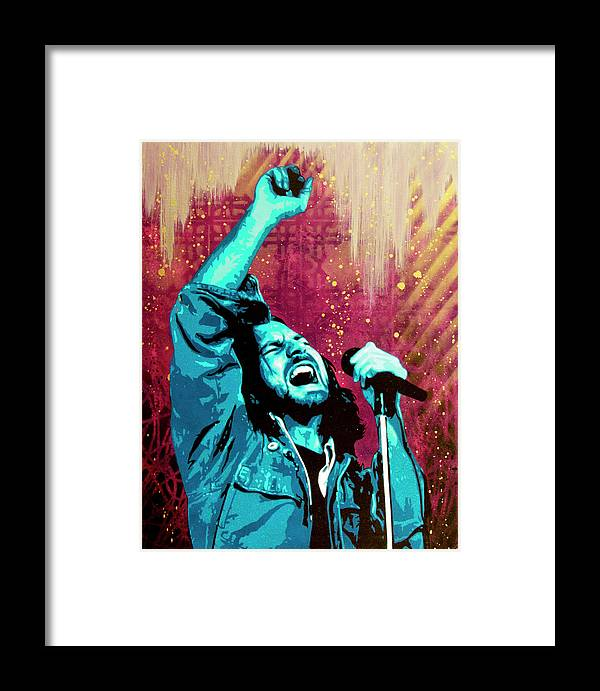 Eddie Vedder Framed Print featuring the painting Even Flow by Bobby Zeik