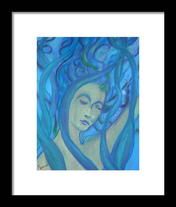 Crayon Framed Print featuring the painting Even Mermaids Get The Blues by Todd Peterson