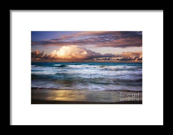 Landscape Framed Print featuring the photograph Evening At Kailua Beach by Charmian Vistaunet