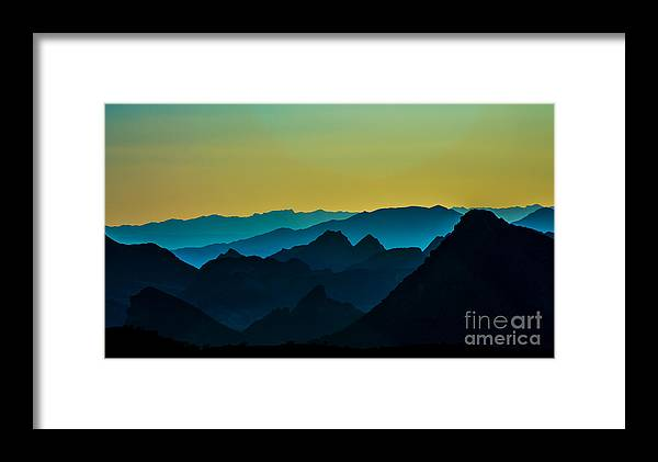Mountains Framed Print featuring the photograph Evening At Lake Mead by Stephen Whalen