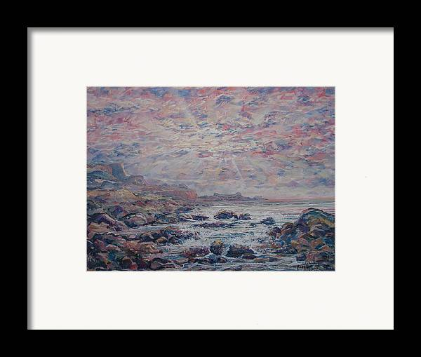 Seascape Framed Print featuring the painting Evening At The Beach by Leonard Holland
