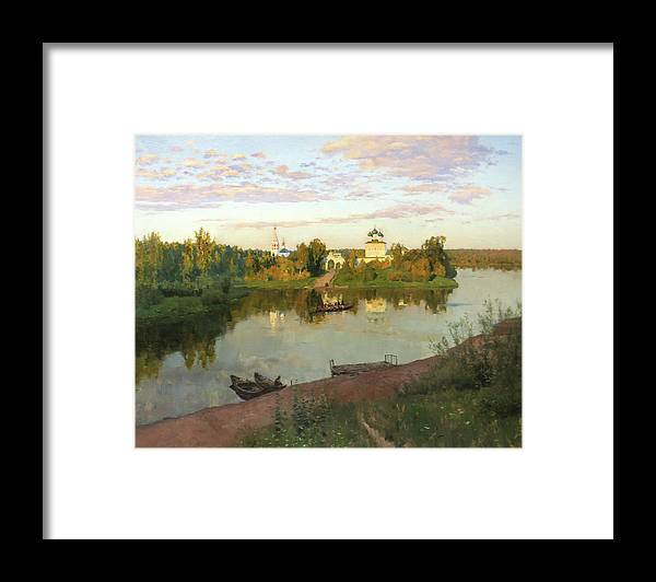 Isaac Levitan Framed Print featuring the painting Evening Bells by Isaac Levitan