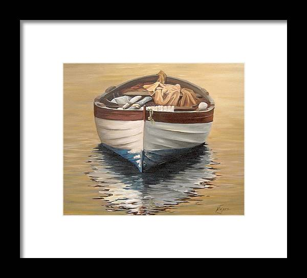 Boats Reflection Seascape Water Framed Print featuring the painting Evening Boat by Natalia Tejera