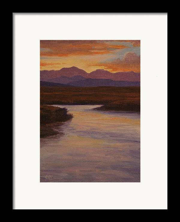 Landscape High Sierras Framed Print featuring the painting Evening Calm by Joe Mancuso