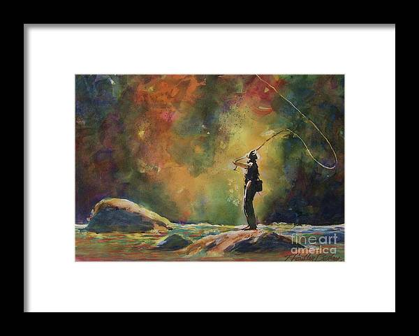 Fly Fishing Framed Print featuring the painting Evening Cast IIi by Therese Fowler-Bailey