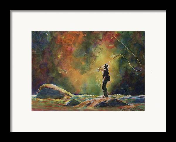 This Is An Original That Has Been Sold. \evening Cast\ Hangs In A Beautiful Home And Is Loved By Any Fisherman Framed Print featuring the painting Evening Cast by Therese Fowler-Bailey