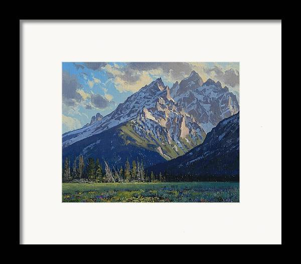 Landscape Framed Print featuring the painting Evening-cathedral Group by Lanny Grant