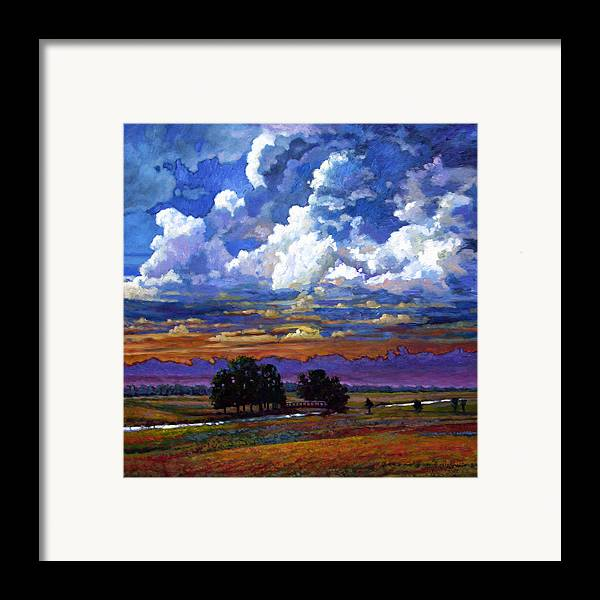 Landscape Framed Print featuring the painting Evening Clouds Over The Prairie by John Lautermilch