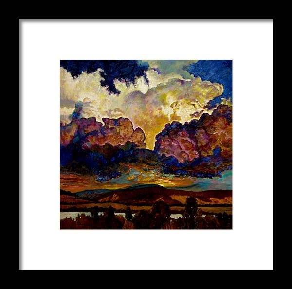 Sunset Framed Print featuring the painting Evening Clouds Over The Valley by John Lautermilch