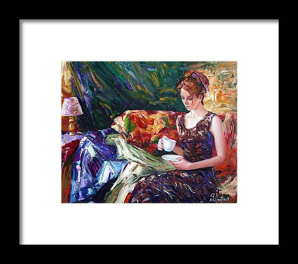 Figurative Framed Print featuring the painting Evening coffee by Sergey Ignatenko