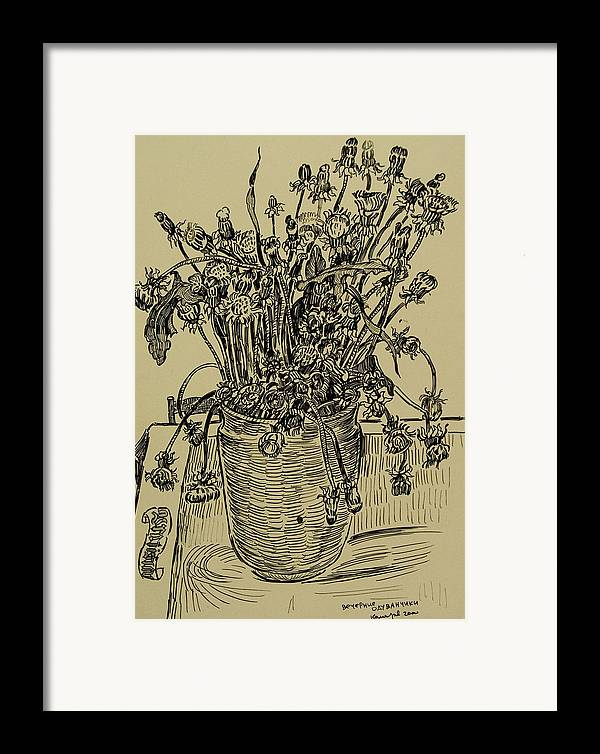 Dandelion Framed Print featuring the drawing Evening Dandelions by Vitali Komarov
