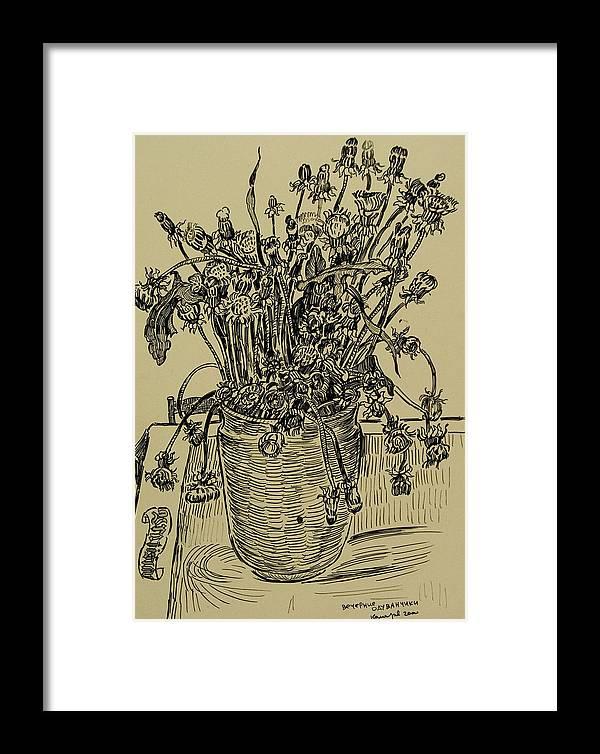 Dandelion Framed Print featuring the drawing Evening Dandelions by Vitali Komarov