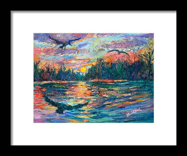 Landscape Framed Print featuring the painting Evening Flight by Kendall Kessler