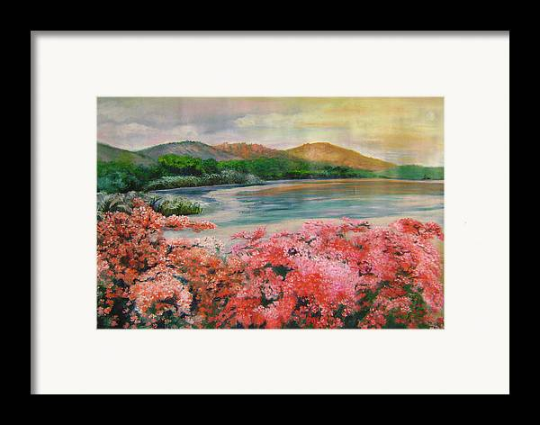 Floral Framed Print featuring the painting Evening Flowers by Lian Zhen