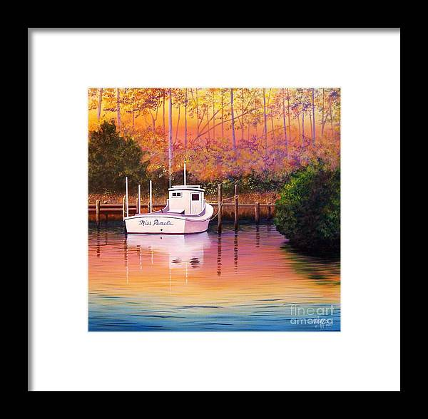 Landscape Framed Print featuring the painting Evening Glow by Hugh Harris