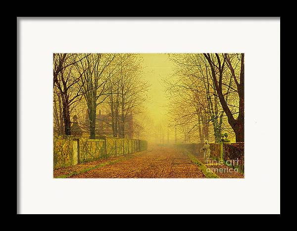 The Fall Framed Print featuring the painting Evening Glow by John Atkinson Grimshaw